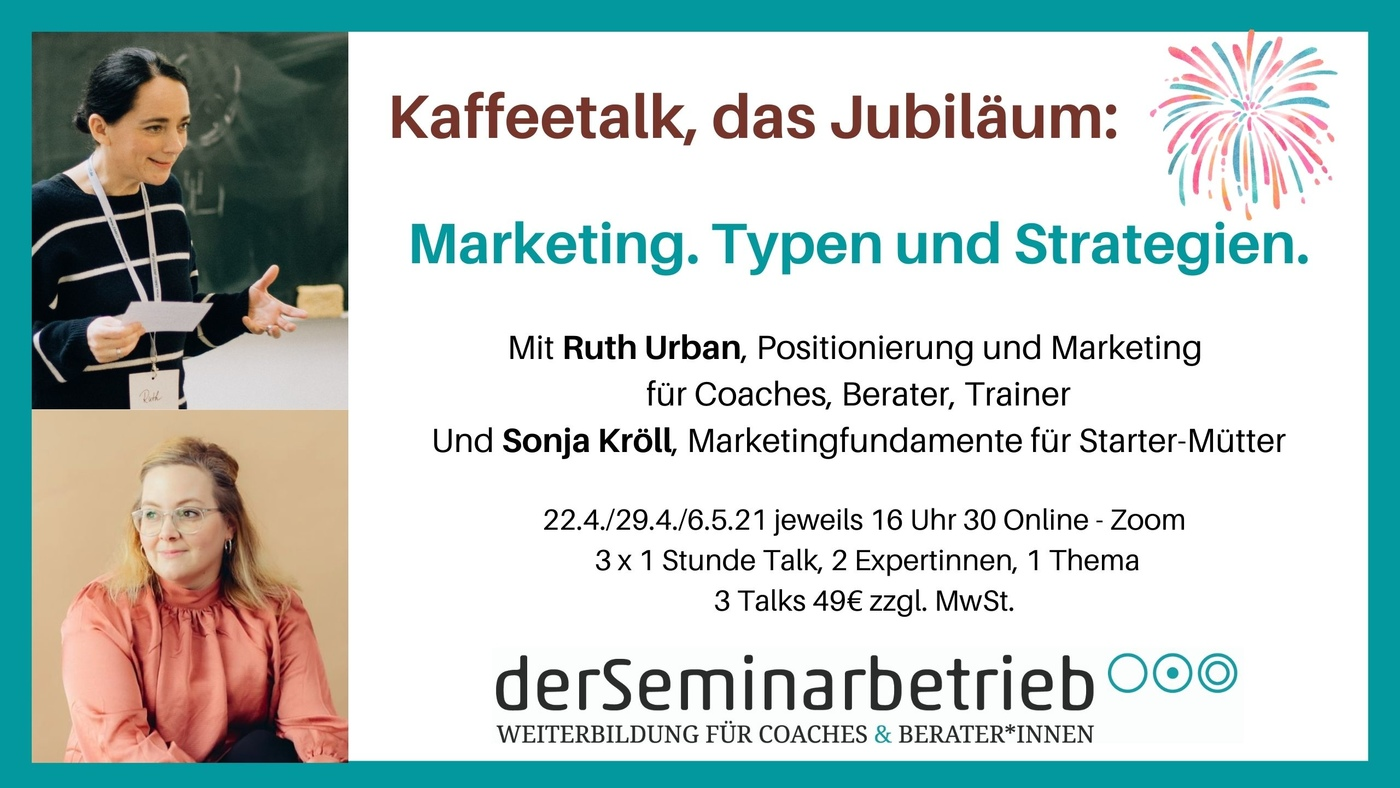 Jubiläums-Kaffeetalk: Marketingtypen und Marketingstrategien